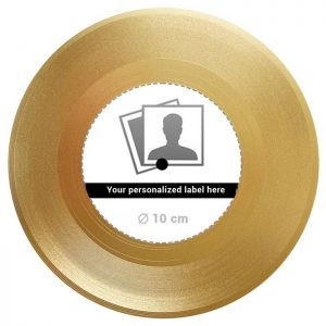 """Vinyl Record Gold 18K - 7"""" EP with Label"""
